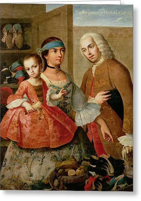 Mix Races Greeting Cards - A Spaniard And His Mexican Indian Wife And Their Child, From A Series On Mixed Race Marriages Greeting Card by Miguel Cabrera