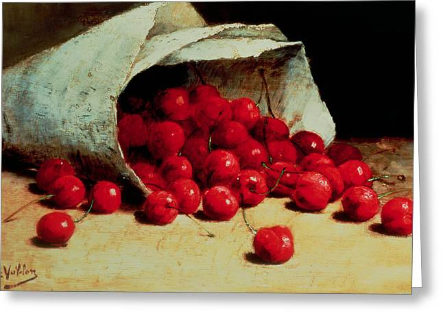 European Fruit Greeting Cards - A Spilled Bag of Cherries Greeting Card by Antoine Vollon
