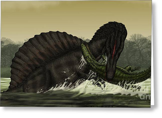 In Mouth Greeting Cards - A Spinosaurus Catches A Young Greeting Card by Vitor Silva