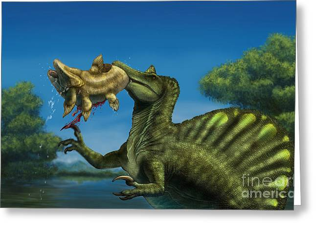 In Mouth Greeting Cards - A Spinosaurus Dinosaur Fishing Greeting Card by Alvaro Rozalen