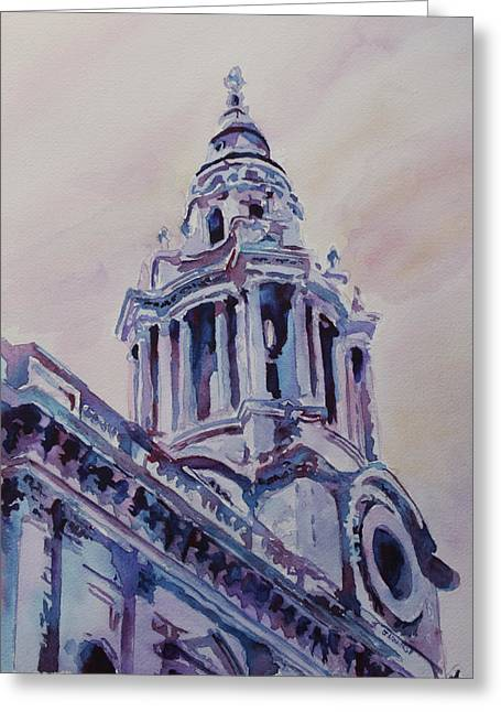 Domes Mixed Media Greeting Cards - A Spire of Saint Pauls Greeting Card by Jenny Armitage