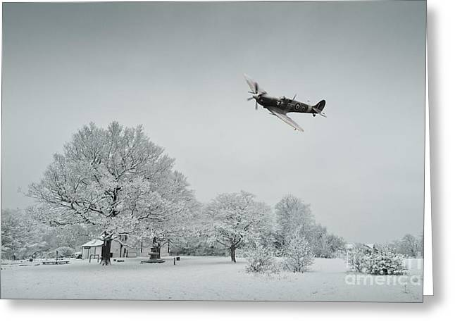 Snow Scene Digital Greeting Cards - A Spitfire Winter  Greeting Card by J Biggadike