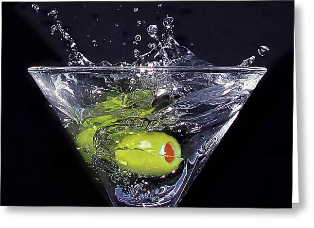 Pouring Greeting Cards - A Splash of Olive Greeting Card by Mountain Dreams