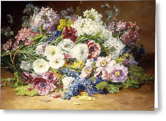Assorted Paintings Greeting Cards - A Splendid Bouquet of Assorted Flowers Greeting Card by Marie Therese Lemaire
