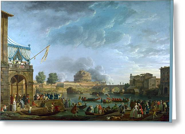 Old Masters Greeting Cards - A Sporting Contest on the Tiber at Rome Greeting Card by Celestial Images
