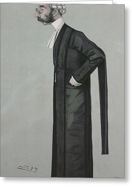 Barrister Greeting Cards - A Sporting Lawyer, Form Vanity Fair, 17th March 1898 Colour Litho Greeting Card by Leslie Mathew Ward