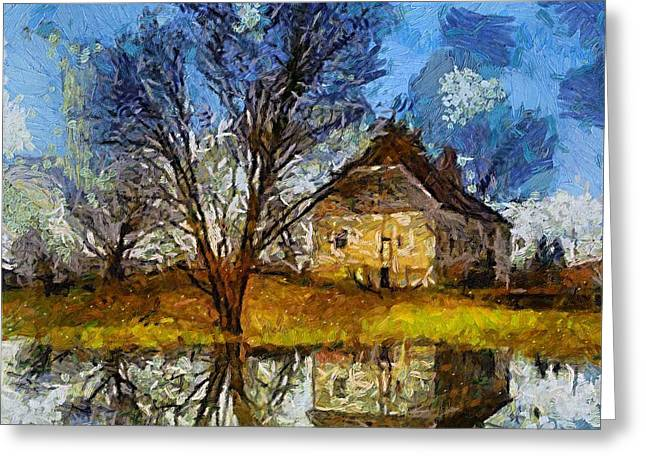 Spring Floods Paintings Greeting Cards - A spring flood Greeting Card by Dragica  Micki Fortuna