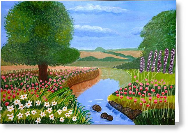 A Spring Stream Greeting Card by Magdalena Frohnsdorff
