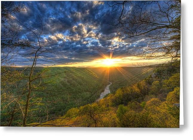 A Spring Sunset On Beauty Mountain In West Virginia. Greeting Card by Michael Bowen