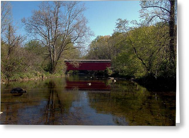 Covered Bridge Greeting Cards - A Spring Time Crossing Greeting Card by Skip Willits
