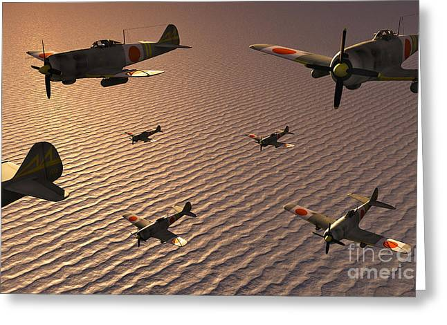 Aircraft Artwork Greeting Cards - A Squadron Of Japanese Nakajima Torpedo Greeting Card by Mark Stevenson