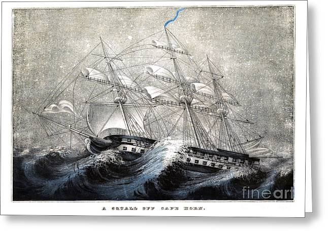 Recently Sold -  - Historic Ship Greeting Cards - A squall off Cape Horn -1840 Greeting Card by Pablo Romero