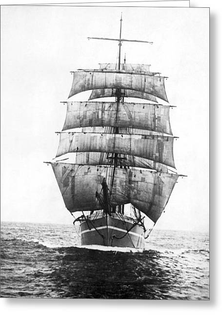Sailing Ship Greeting Cards - A Square Rigged Sailing Ship Greeting Card by Underwood Archives