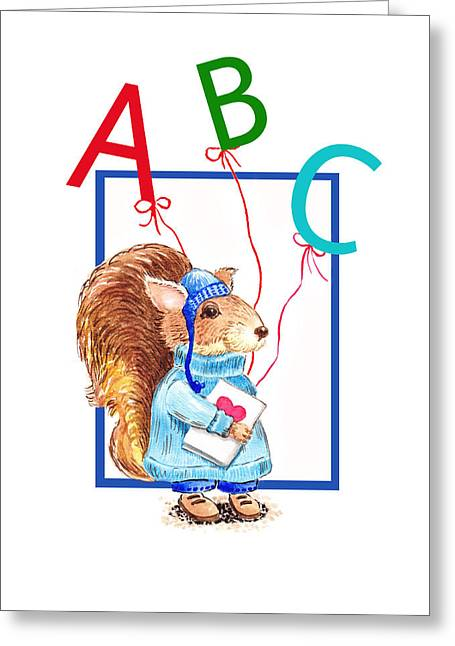 Animal Alphabet Greeting Cards - A Squirrel Who Really Loves To Read Greeting Card by Irina Sztukowski