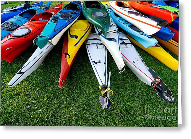 Canoe Greeting Cards - A Stack of Kayaks Greeting Card by Amy Cicconi