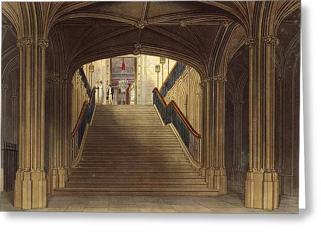 A Staircase, Windsor Castle, From Royal Greeting Card by Charles Wild