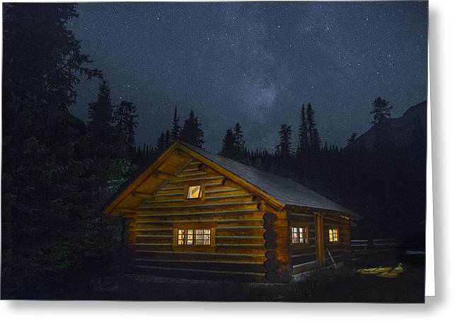 Hunting Cabin Photographs Greeting Cards - A Star Filled Night Greeting Card by Bill Cubitt