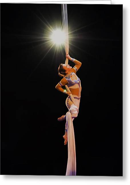 Acrobat Image Greeting Cards - a Star is born - the gymnast Greeting Card by Chris Flees