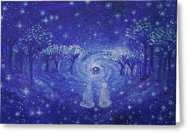 Dream Scape Paintings Greeting Cards - A Star Night Greeting Card by Ashleigh Dyan Bayer