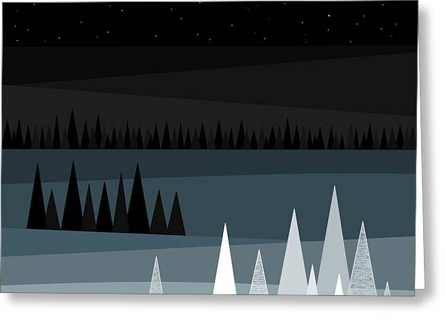Winter Night Greeting Cards - A Star Studded Sky Greeting Card by Val Arie