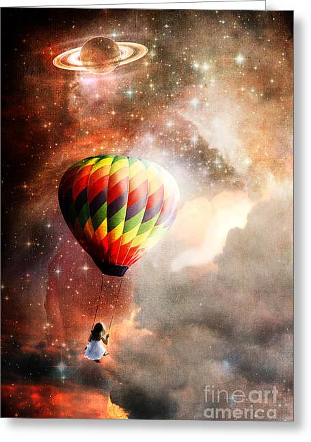 Floating Girl Greeting Cards - A Starry Ride Greeting Card by Stephanie Frey