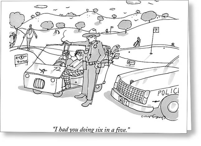 A State Trooper Stops A Golf Cart On A Golf Greeting Card by Michael Crawford