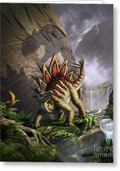 Stream Digital Art Greeting Cards - A Stegosaurus Is Surprised By An Greeting Card by Jerry LoFaro