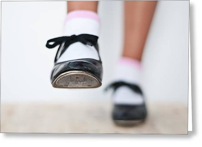 Tap Dancers Greeting Cards - Old Tap dance shoes from dance academy - A step forward tap dance Greeting Card by Pedro Cardona