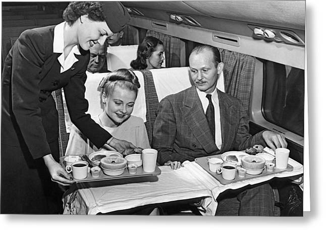 Stewards Greeting Cards - A Stewardess Serving Breakfast Greeting Card by Underwood Archives
