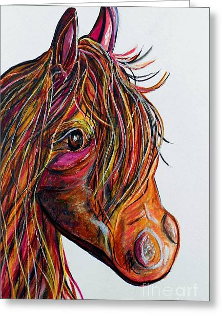 A Stick Horse Named Amber Greeting Card by Eloise Schneider