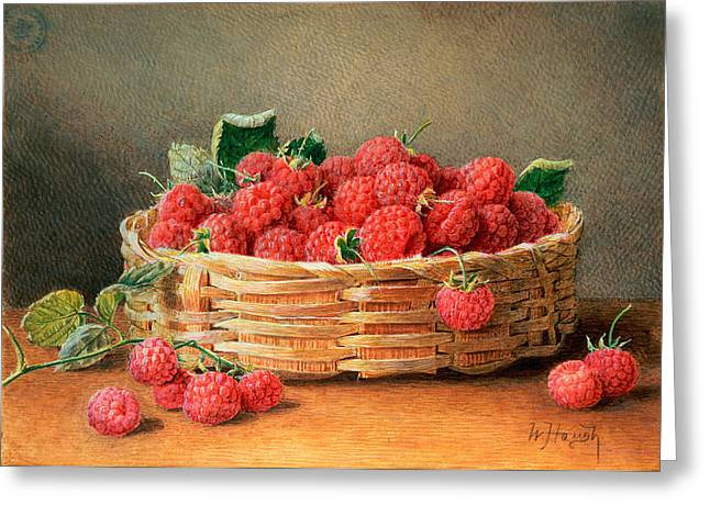 Williams Greeting Cards - A Still Life of Raspberries in a Wicker Basket  Greeting Card by William B Hough
