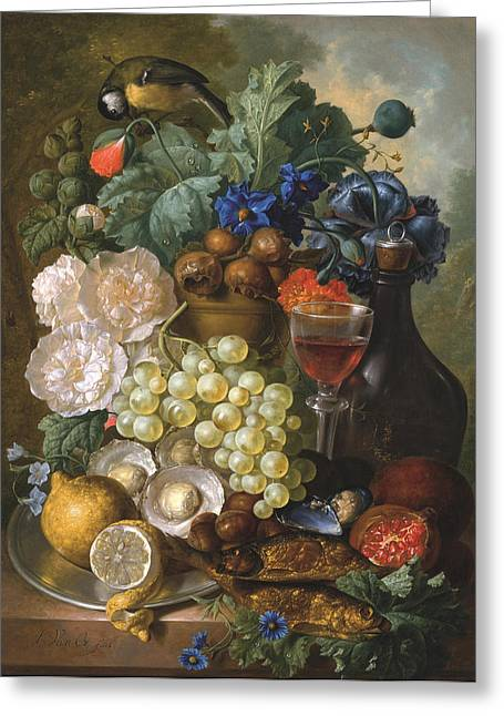 A Still Life With Fruits And Flowers With Oysters Mussels A Glass Of Wine And A Decanter Greeting Card by Jan van Os