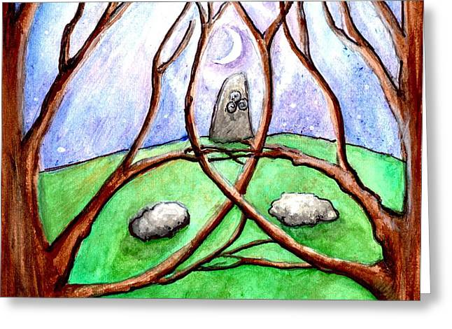 Sacred Grove Greeting Cards - A Stone in the Grove in moonlight Greeting Card by Janice T Keller-Kimball