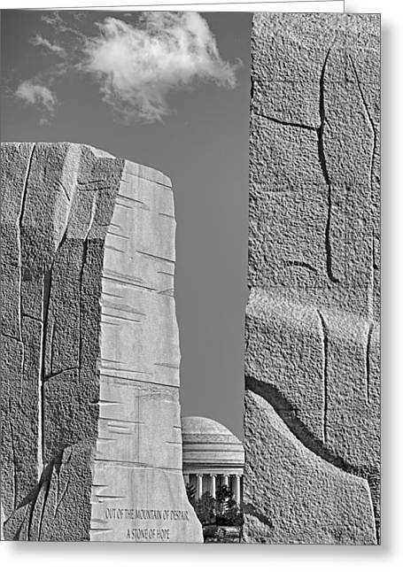 Civil Rights Greeting Cards - A Stone Of Hope BW Greeting Card by Susan Candelario
