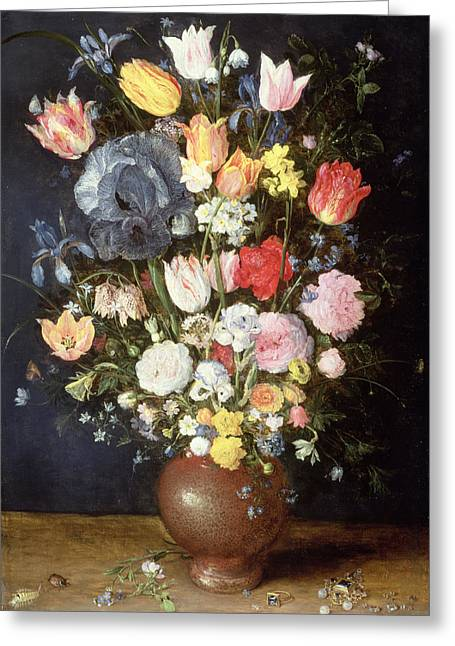 Uncut Greeting Cards - A Stoneware Vase Of Flowers, C.1607-8 Greeting Card by Jan the Elder Brueghel