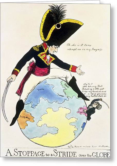 Progress Greeting Cards - A Stoppage To A Stride Over The Globe, 1803 Litho Greeting Card by English School