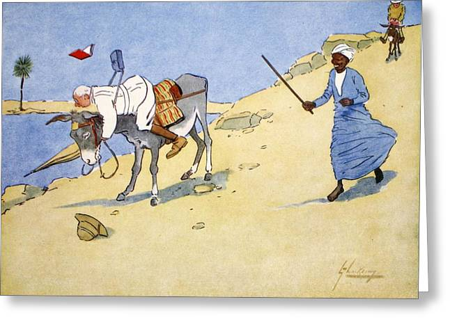 Donkey Drawings Greeting Cards - A Stopping-place On The Nile, From The Greeting Card by Lance Thackeray