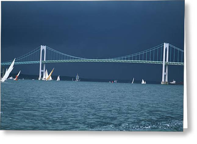 A Storm Approaches Sailboats Racing Greeting Card by Panoramic Images