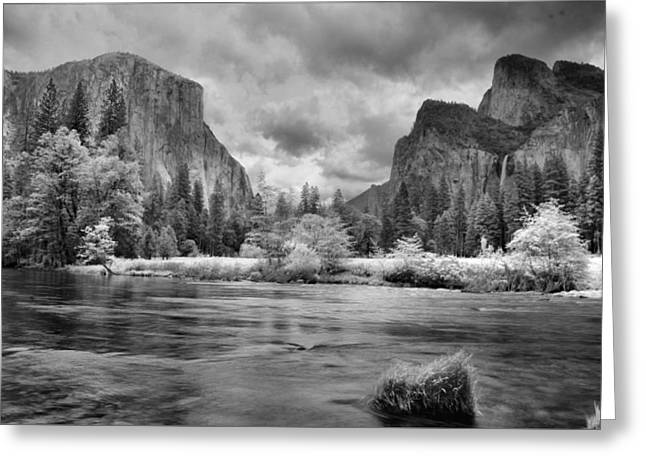 A Storm Draws Near - Black And White Greeting Card by Lynn Bauer
