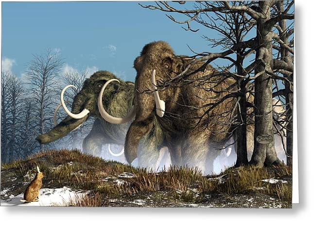 Primeval Greeting Cards - A Storm of Mammoths  Greeting Card by Daniel Eskridge