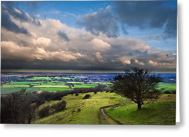 Colorful Cloud Formations Greeting Cards - A storm over English countryside with dramatic cloud formations  Greeting Card by Matthew Gibson