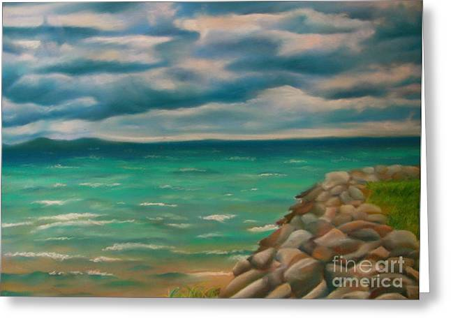Chicago Pastels Greeting Cards - A Storm Rolling In Greeting Card by Kathryn Kerekes