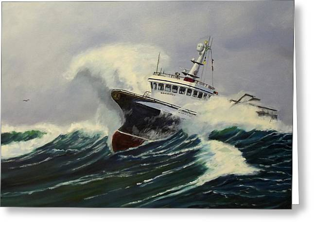 Seacape Paintings Greeting Cards - A Stormey Day Greeting Card by Jerry Spangler