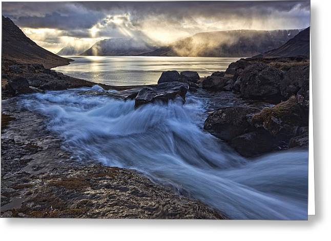 Emergence Greeting Cards - A Stormy Sky Breaks Greeting Card by Robert Postma