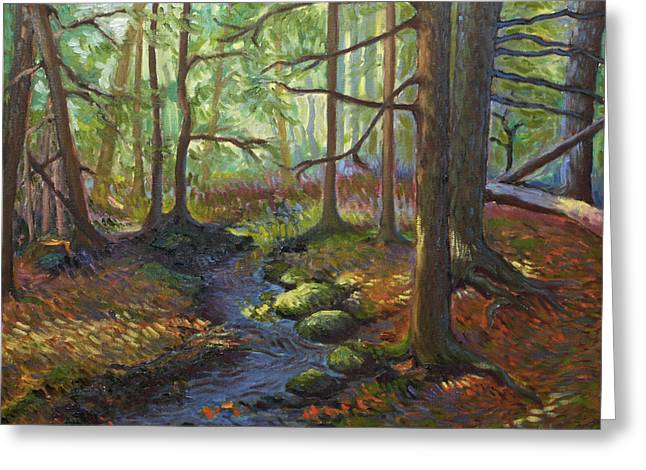 Fall Trees With Stream. Greeting Cards - A Stream of Light Greeting Card by Alison Barrett Kent