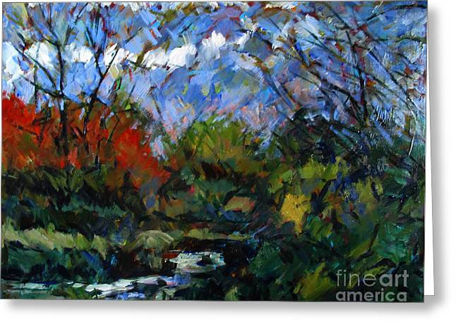 Brushwork Greeting Cards - A Stream Runs Through It Greeting Card by Charlie Spear