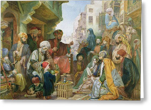 Frederick Greeting Cards - A Street in Cairo Greeting Card by John Frederick Lewis