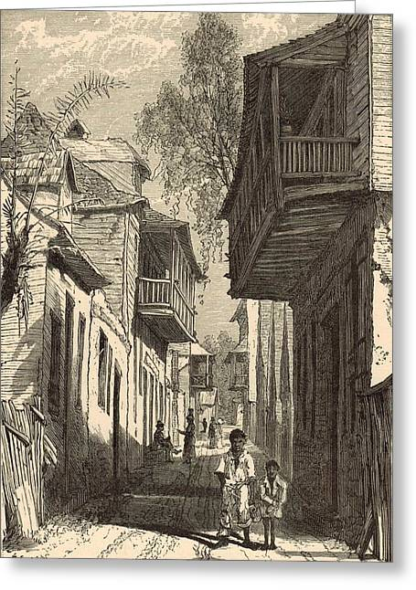 Horse And Buggy Drawings Greeting Cards - A Street in St. Augustine 1872 Engraving Greeting Card by Antique Engravings