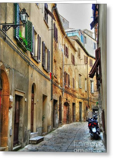 Medieval City Greeting Cards - A Street In Tuscany 2 Greeting Card by Mel Steinhauer