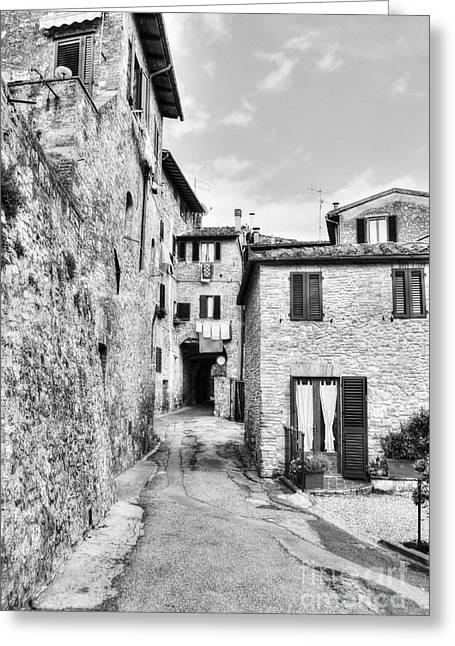 Scenes Of Italy Greeting Cards - A Street In Tuscany BW Greeting Card by Mel Steinhauer